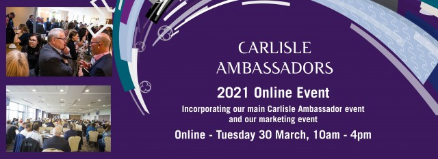 Our Main Carlisle Ambassador and Marketing online event is now available to book - 30th March 2021 10am to 4pm. Book you ticket and your showcase, links below