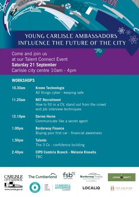 Speaker and workshop programme for the 21st September Young Carlisle Ambassador's Talent Connect event
